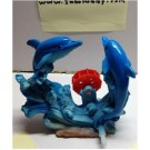 Simulation Red Plastic Waterwheel Resin Two Dolphin Aquarium Decor